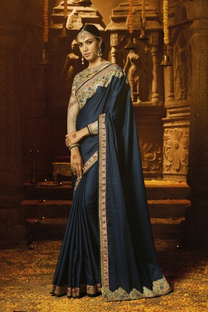 Enigmatic Blue Crape Heavy Embroidery Badala Zari and Sequance Work with Multi Color Resham Work Saree with Blouse