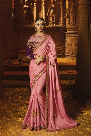 Affluent Baby Pink Crape Heavy Embroidery Badala Zari and Sequance Work with Multi Color Cotton Thread Work Saree with Blouse