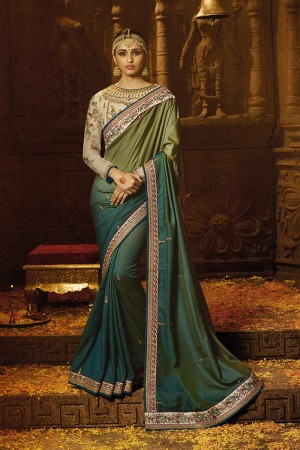 Decent Green Silk Heavy Embroidery Badala Zari and Sequance Work with Multi Color Resham Work Saree with Blouse