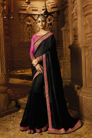 Exquisite Black Silk Heavy Embroidery Badala Zari and Sequance Work with Multi Color Resham Work Saree with Blouse