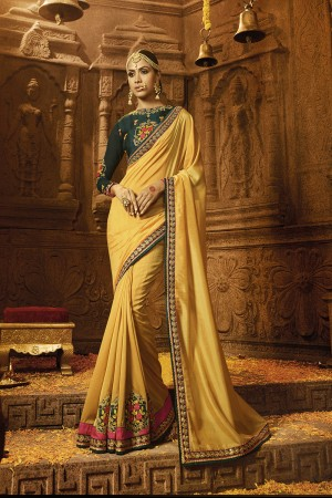Contemporary Mustard Yellow Silk Heavy Embroidery Badala Zari and Sequance Work with Multi Color Resham Work Saree with Blouse