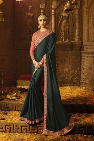 Brilliant Bottel Green Chinon Heavy Embroidery Badala Zari and Sequance Work with Multi Color Resham Work Saree with Blouse