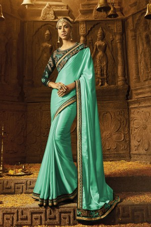 Creative Sea Green Crape Heavy Embroidery Badala Zari and Sequance Work with Multi Color Resham Work Saree with Blouse