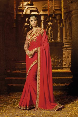 Enticing Red Crape Heavy Embroidery Badala Zari and Sequance Work with Multi Color Resham Work Saree with Blouse