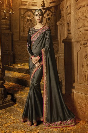 Striking Grey Silk Heavy Embroidery Badala Zari and Sequance Work with Multi Color Resham Work Saree with Blouse