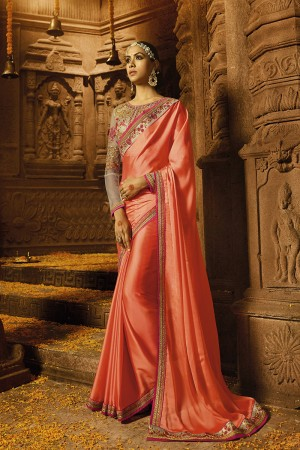 Enchanting Peach Silk Heavy Embroidery Badala Zari and Sequance Work with Multi Color Resham Work Saree with Blouse