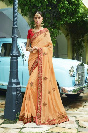 Voguish Light Orange Silk Heavy Embroidery Zari, Thread and Coding Work with Embroidery Blouse  Saree with Blouse
