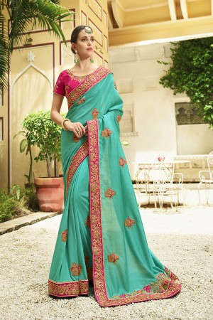 Attractive Bottle Green Silk Heavy Embroidery Zari, Thread and Coding Work with Embroidery Blouse  Saree with Blouse