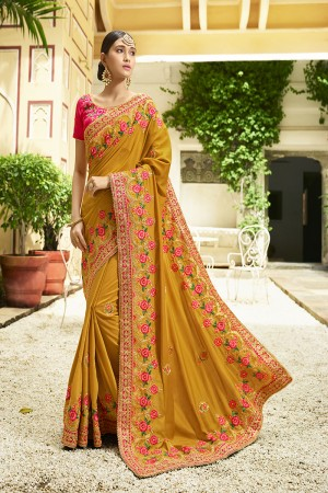 Graceful Mustard Silk Heavy Embroidery Zari, Thread and Coding Work with Embroidery Blouse  Saree with Blouse