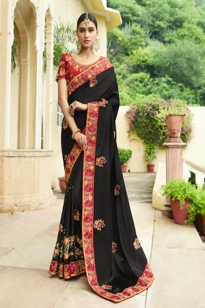 Enthralling Black Silk Heavy Embroidery Zari, Thread and Coding Work with Embroidery Blouse  Saree with Blouse