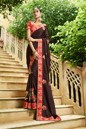 Captivating Brown Silk Heavy Embroidery Zari, Thread and Coding Work with Embroidery Blouse  Saree with Blouse
