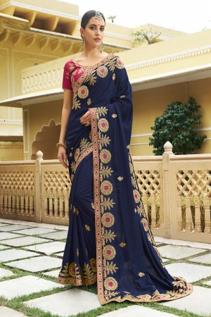 Glitzy Blue Silk Heavy Embroidery Zari, Thread and Coding Work with Embroidery Blouse  Saree with Blouse
