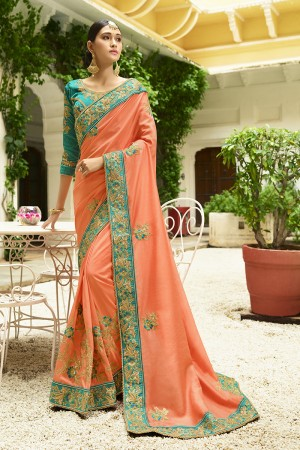 Ambitious Orange Silk Heavy Embroidery Zari, Thread and Coding Work with Embroidery Blouse  Saree with Blouse