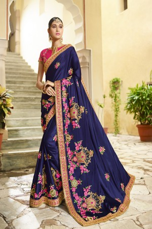 Astounding Blue Silk Heavy Embroidery Zari, Thread and Coding Work with Embroidery Blouse  Saree with Blouse