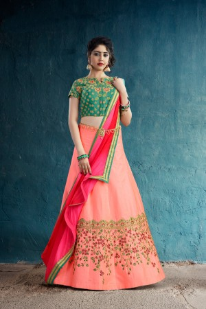 Breezy Peach Art Silk Jari & Thread Embroidery With Stone Work Lehenga Choli