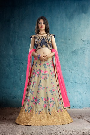 Trendy Beige Muslin Silk Printed & Jari Embroidery With Stone Work Lehenga Choli