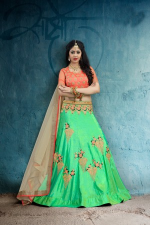 Versatile Green Art Silk Jari & Resham Embroidery With Stone Work Lehenga Choli