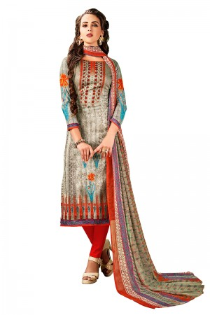 Classy Multicolor Jam Cotton Digital Print Dress Material