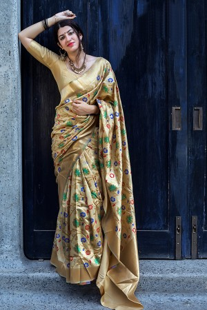 Adorable Beige Banarasi Silk Weaving Patola Silk Saree with Blouse