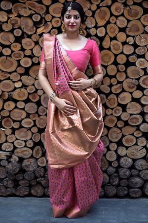 Breezy Salmon Banarasi Silk Weaving Patola Silk Saree with Blouse