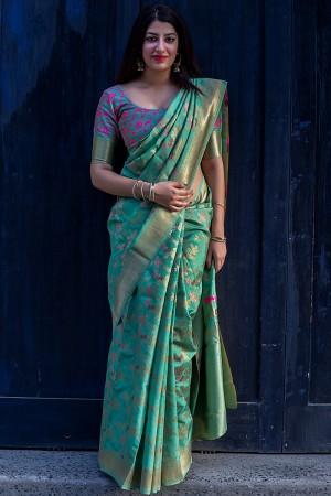 Trendy Cyan green Banarasi Silk Weaving Patola Silk Saree with Blouse