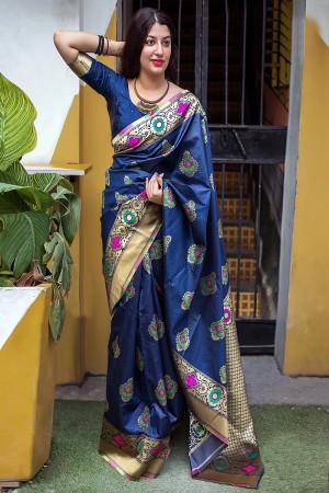 NavyBlue Banarasi Silk Patola Saree
