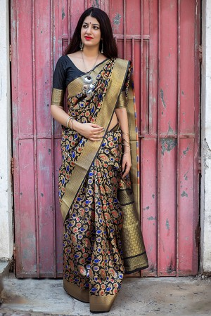 Black Banarasi Silk Patola Saree