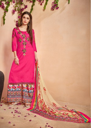 Attractive Rani Pink Glace Cotton Heavy Embroidery on Neck and Sleeve with Digital Print Dupatta Dress Material