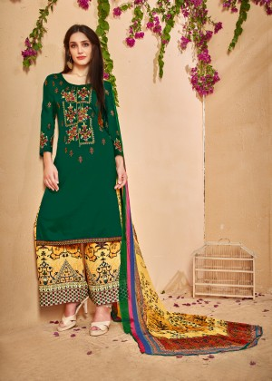 Graceful DarkGreen Glace Cotton Heavy Embroidery on Neck and Sleeve with Digital Print Dupatta Dress Material