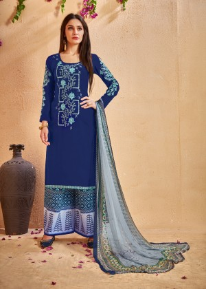 Fabulous Blue Glace Cotton Heavy Embroidery on Neck and Sleeve with Digital Print Dupatta Dress Material