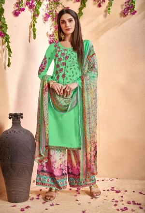 Luscious Liril Glace Cotton Heavy Embroidery on Neck and Sleeve with Digital Print Dupatta Dress Material