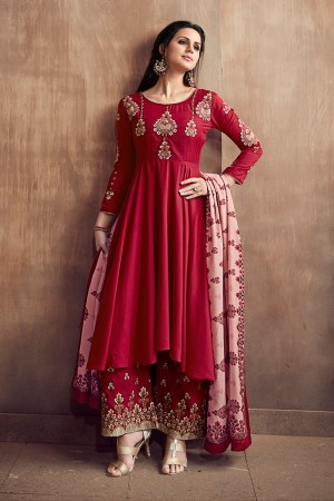 Red Muslin Full Stitched Salwar Kameez