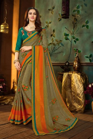 Multi colour Georgette Saree with Blouse
