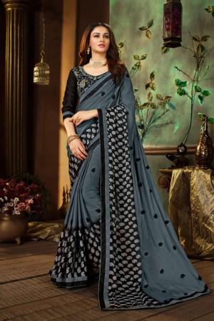 Grey Georgette Saree with Blouse