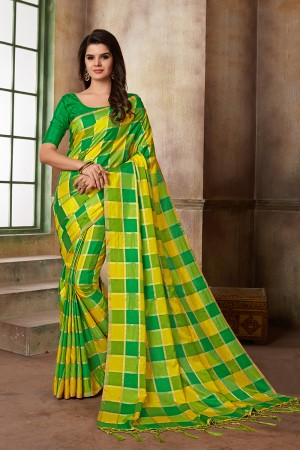 Yellow & Parrot green Two Tone Silk Saree with Blouse