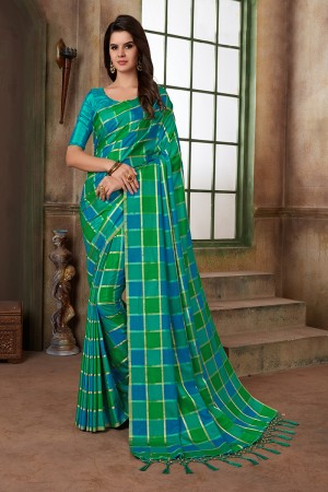 Blue & Sea Green Two Tone Silk Saree with Blouse