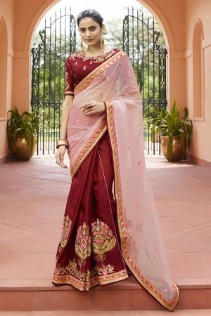 Maroon & Pink Silk & Nylone tissu Saree with Blouse