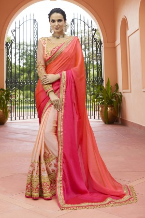 Peach & Gajari Silk Saree with Blouse