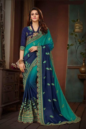 Rama & Navy Blue Chinon Silk Saree with Blouse