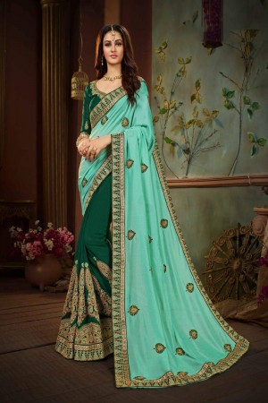 Cyan Green Silk Saree with Blouse