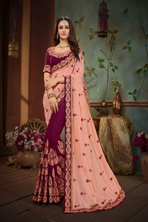 Peach & Maroon Silk Saree with Blouse
