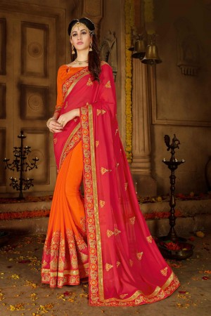 Red & Orange Georgette Saree with Blouse