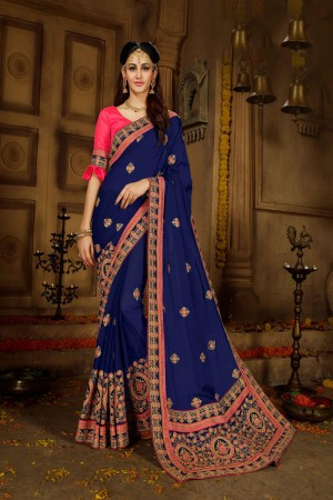 Navy Blue Georgette Saree with Blouse