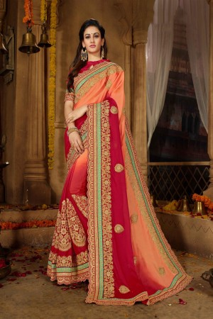 Peach & Red Moss Chiffon Saree with Blouse