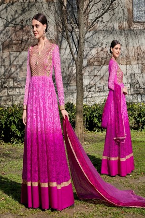 Wine Shaded Brasso Semi  Stitch Salwar Kameez