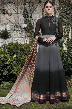 Grey & Black Georgette Semi  Stitch Salwar Kameez