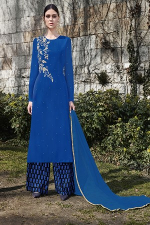 Blue Georgette Semi  Stitch Salwar Kameez