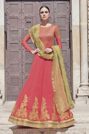 Corral Pink Georgette Semi  Stitch Salwar Kameez