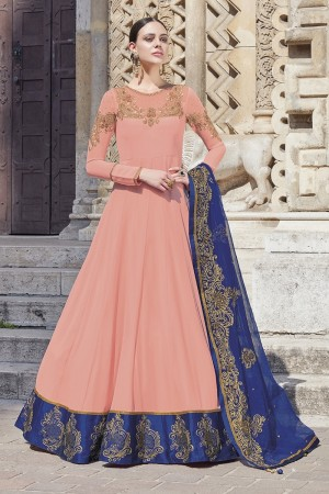 Peach Georgette Semi  Stitch Salwar Kameez