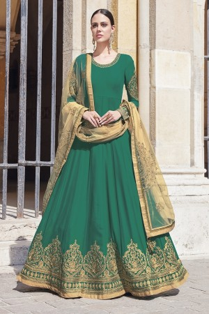 Green Georgette Semi  Stitch Salwar Kameez